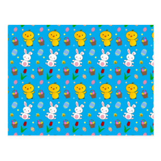 Cute sky blue chick bunny egg basket easter postcard