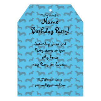 Cute sky blue dachshund pattern invitations