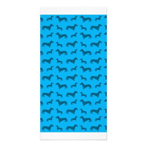 Cute sky blue dachshund pattern customized photo card