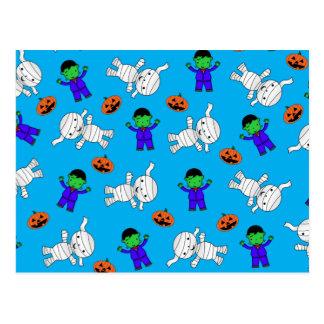Cute sky blue Frankenstein mummy pumpkins Post Cards