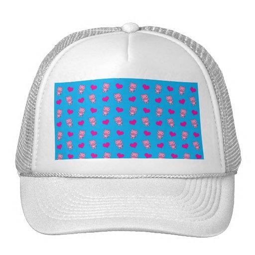 Cute sky blue pig hearts pattern trucker hats
