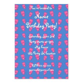 Cute sky blue pig pattern 13 cm x 18 cm invitation card