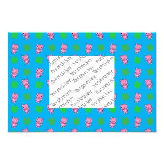 Cute sky blue pig shamrocks pattern photo print
