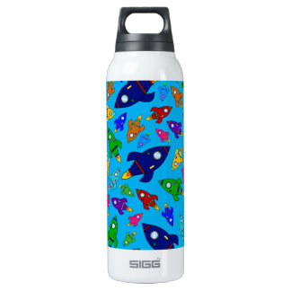 Cute sky blue rocket ships pattern 0.5L insulated SIGG thermos water bottle