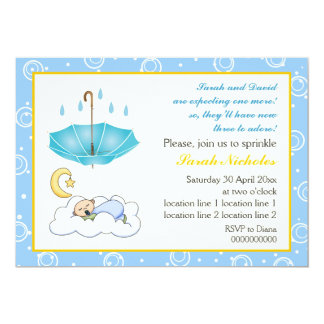 Cute sleeping baby boy sprinkle blue and yellow 13 cm x 18 cm invitation card