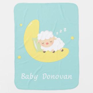 Cute Sleeping Baby Lamb on the Moon Baby Blanket