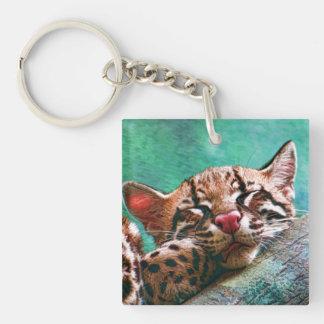 Cute Sleeping Baby Ocelot Kitten Key Ring
