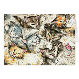 Cute sleeping cats and kittens card