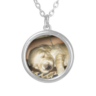 Cute sleeping GoldenDoodle Puppy Photo Silver Plated Necklace