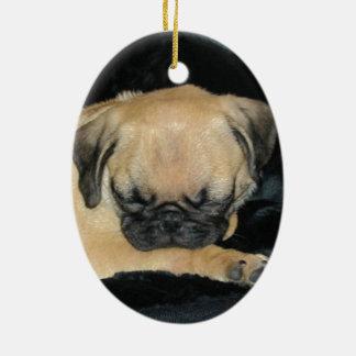Cute Sleeping Pug Puppy Ceramic Oval Decoration