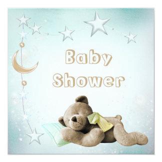 Cute Sleeping Teddy Moon & Stars Baby Shower 13 Cm X 13 Cm Square Invitation Card