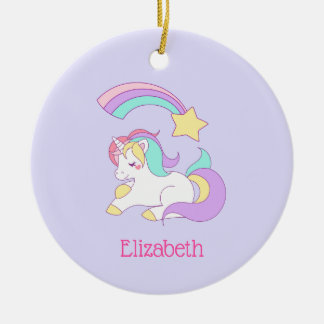 Cute Sleeping Unicorn with Colorful Shooting Star Ceramic Ornament