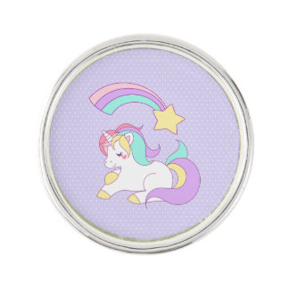 Cute Sleeping Unicorn with Colorful Shooting Star Lapel Pin