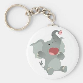 Cute Sleepy Cartoon Elephant  Keychain