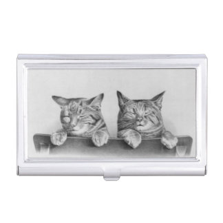 Cute Sleepy Cats Vintage Black and White Photo Business Card Holders