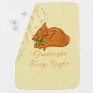 Cute Sleepy Kitty Baby Blanket
