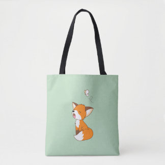 Cute Sleepy Little Fox Tote Bag