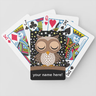 cute sleepy owl bicycle playing cards
