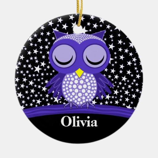 cute sleepy owl ornament
