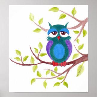 Cute sleepy owl on a tree cartoon Poster