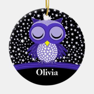 cute sleepy owl round ceramic decoration