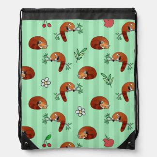 Cute Sleepy Red Panda Pattern Drawstring Bag