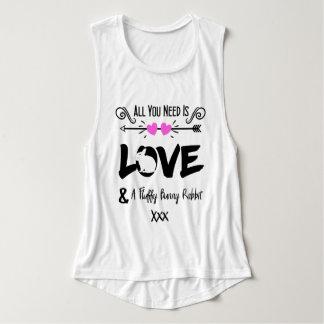 Cute Slogan Love & Fluffy Bunny Rabbit Theme Singlet