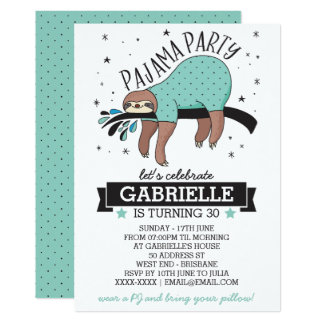 Cute Sloth Adult Pajama Party Invitation