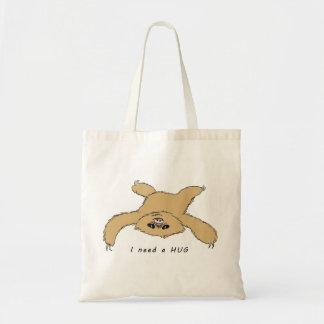 cute sloth baby needs a hug tote bag