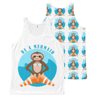Cute Sloth Be a Mermaid All-Over Print Singlet