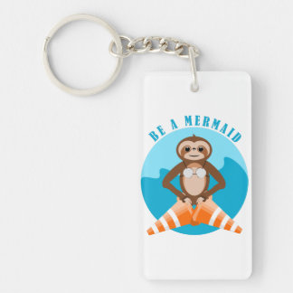 Cute Sloth Be a Mermaid Key Ring
