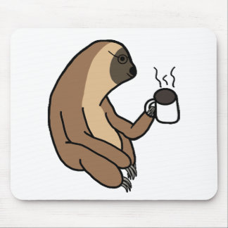 Cute Sloth Drinking Coffee Mouse Pad