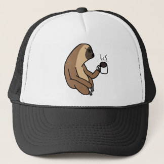 Cute Sloth Drinking Coffee Trucker Hat