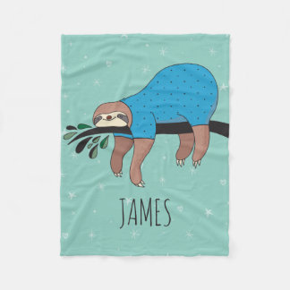 Cute Sloth Fleece Blanket