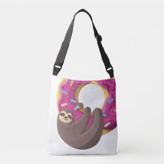 Cute sloth hanging from the doughnut crossbody bag