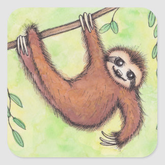 Cute Sloth Square Stickers