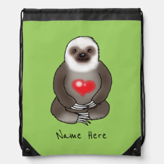 cute sloth with red heart (add name) drawstring bag