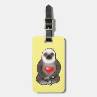 cute sloth with red heart (add text) luggage tag