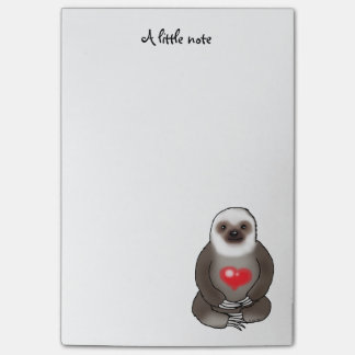 cute sloth with red heart post-it notes