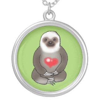 cute sloth with red heart silver plated necklace