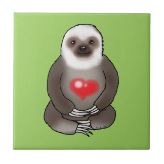 cute sloth with red heart tile