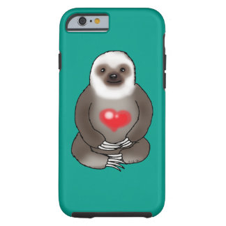 cute sloth with red heart tough iPhone 6 case