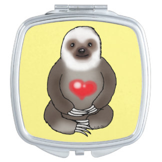 cute sloth with red heart vanity mirrors