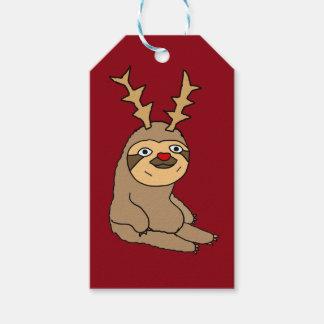 Cute Sloth with Reindeer Antlers Christmas Art Gift Tags