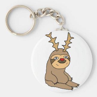 Cute Sloth with Reindeer Antlers Christmas Art Key Ring
