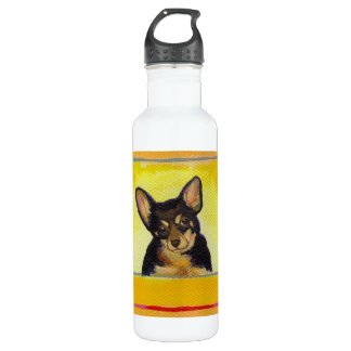 Cute small dog art black and tan chihuahua minpin 710 ml water bottle