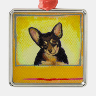 Cute small dog art black and tan chihuahua minpin metal ornament