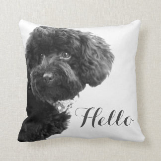 Cute Small Dog Puppy Toy Poodle Hello Custom Cushion