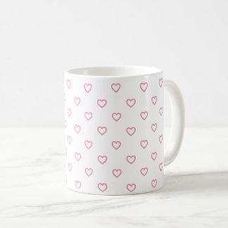 Cute Small Pink Hearts Polka Dot Pattern Mug