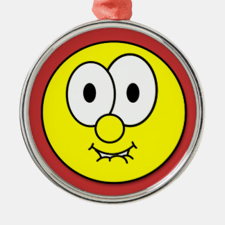 Cute Smiely Face Silver-Colored Round Decoration